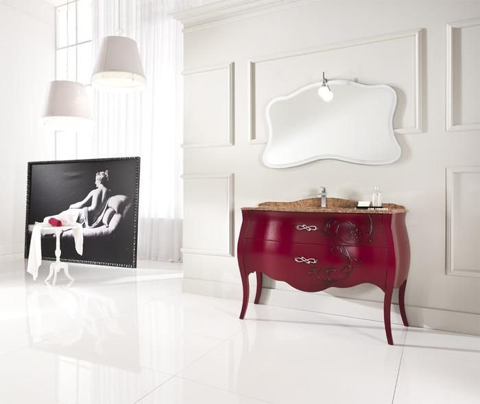 Rosso anticato e marmo rosa ecco il mobile bagno classico for Arredo bagno viola